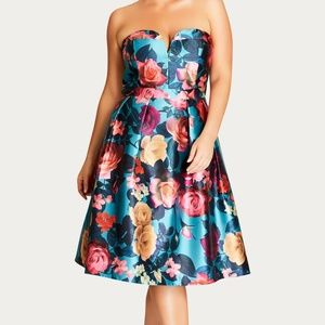 City Chic turquoise lush floral fit flare dress 20